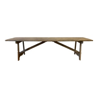 French Antique Rustic Oak Trestle Dining Table For Sale