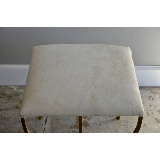 "Art Deco Contemporary Design Frères ""Strapontin"" Gilt Metal and White Hide Stool For Sale - Image 3 of 4"
