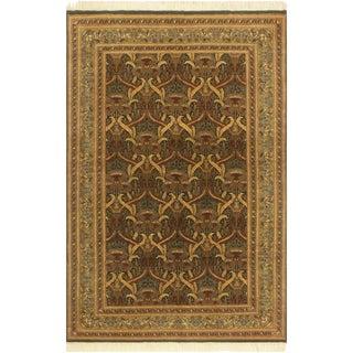 Pak-Persian Yoshiko Green/Gold Wool Rug - 5'5 X 8'1 For Sale