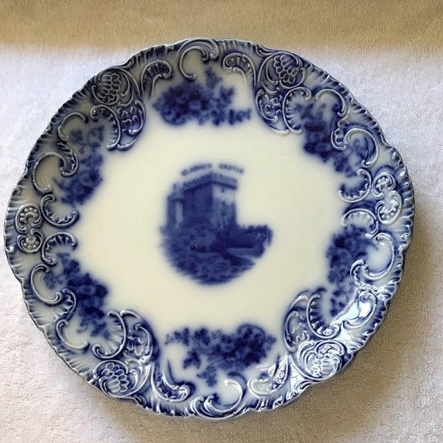 "Tribley Royal Semi-Porcelain Wood & Son Flow-blue ""Blarney Castle"". No chips, no grazing, beautiful condition."