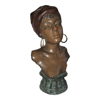 Original Polychrome Spelter Bust of a Woman Signed E. Villanis, Circa 1890 For Sale