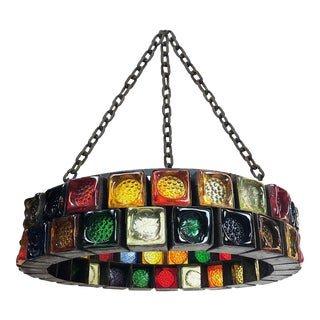 Hand Blown Glass Chandelier by Feders For Sale