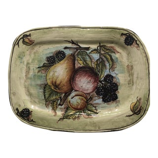 Italian Hand Painted Rectangular Ceramic Wall Plate For Sale