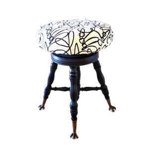 Antique Claw and Ball Glass Feet Piano Stool For Sale