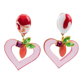 Christian Lacroix Paris Jeweled Pink Resin Heart Dangling Clip on Earrings For Sale