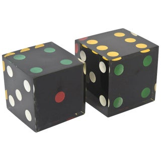 Lucite Sculptural Dice - a Pair For Sale