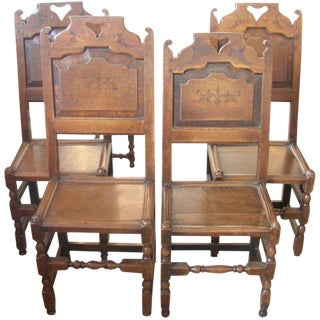 Set of Four 19th Century English Oak Side Chairs