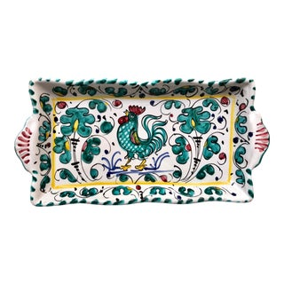 Deruta Rooster Italian Faience Serving Dish For Sale