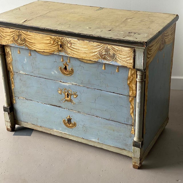 """19th C. Painted Swedish Chest Height: 35"""" Width: 45"""" Depth: 23.25"""""""