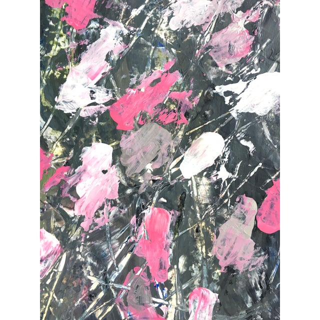 Abstract Blooms in the Dark Original Painting For Sale - Image 3 of 4