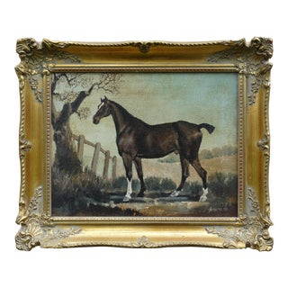 English School Equestrian Horse Portrait Oil on Canvas
