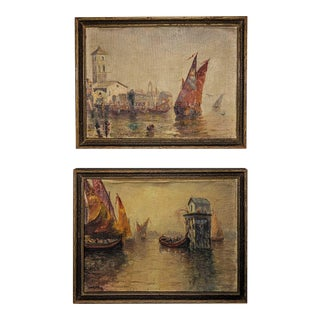 Original 19th Century Venice Seascape Oil Paintings Signed by American Impressionist Robert Frank Cornett (1867-1937) Set of Two. For Sale