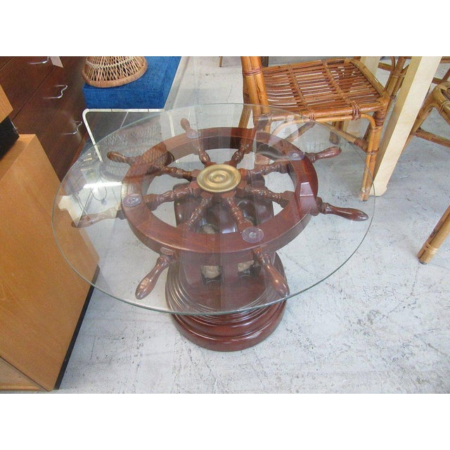 Ship Wheel & Pully Maritime Table - Image 6 of 6