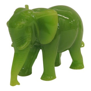 Glass Jade Color Elephant Decorative Figurine. For Sale