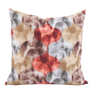 "Orange & Silver Quatrefoil 20"" Pillow For Sale"