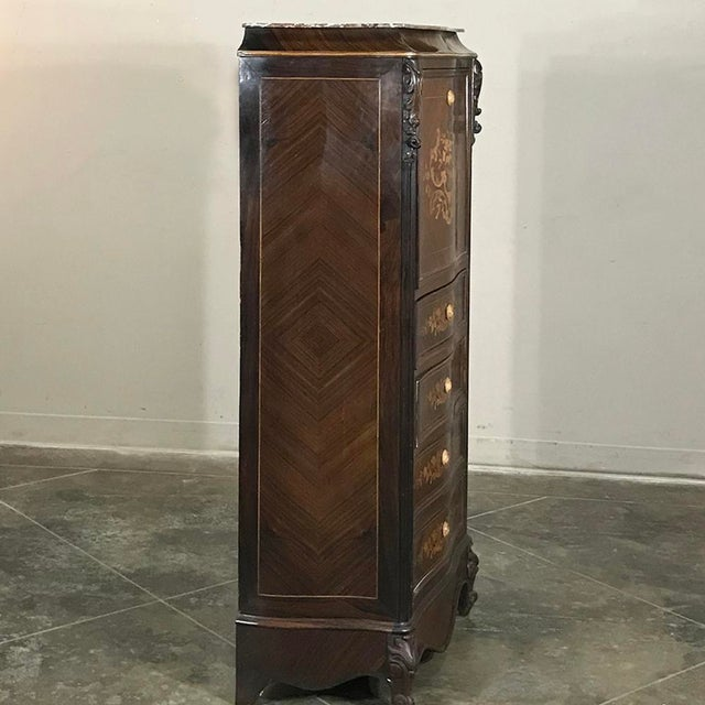 19th Century French Parisienne Rosewood Marble Top Drop-Front Secretary For Sale - Image 4 of 13