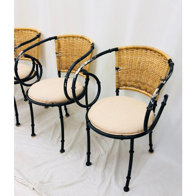 Vintage Metal & Wicker Bistro Chairs For Sale - Image 4 of 13