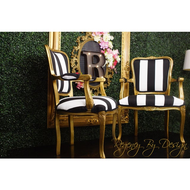 1970s Vintage French White and Black Stripe Gold Louis XV Chairs - a Pair For Sale - Image 4 of 4