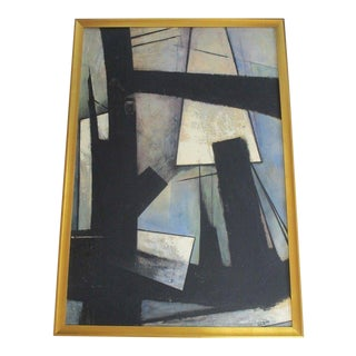 Scott Abstract Painting 1950's to 1960's Abstract Expressionism Black Blue Vntg For Sale