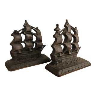 Big Ship Metal Book Ends, Pair For Sale