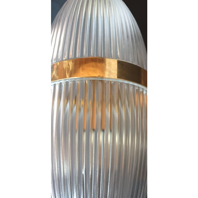 Large Mid-Century Modern Clear Glass & Brass Italian Sconces or Lanterns - a Pair For Sale - Image 11 of 12