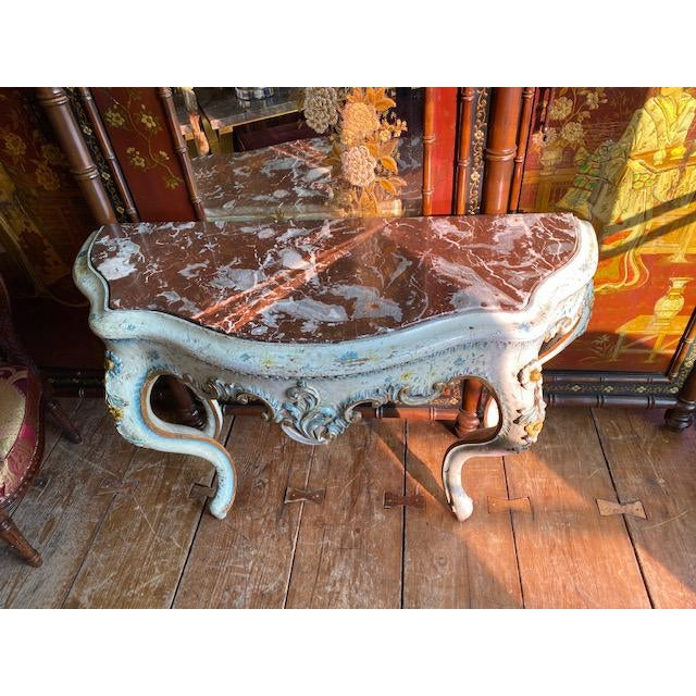 19th century painted white and blue console table. With red marble top.