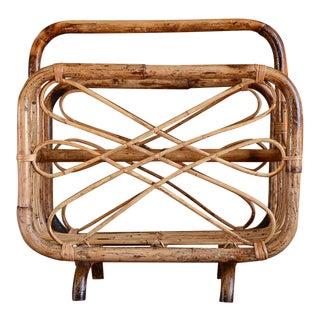 Mid-Century Modern Bamboo Magazine Rack