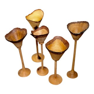 Exquisite Set of Five Hand-Turned Wood Cups by Paul Maurer