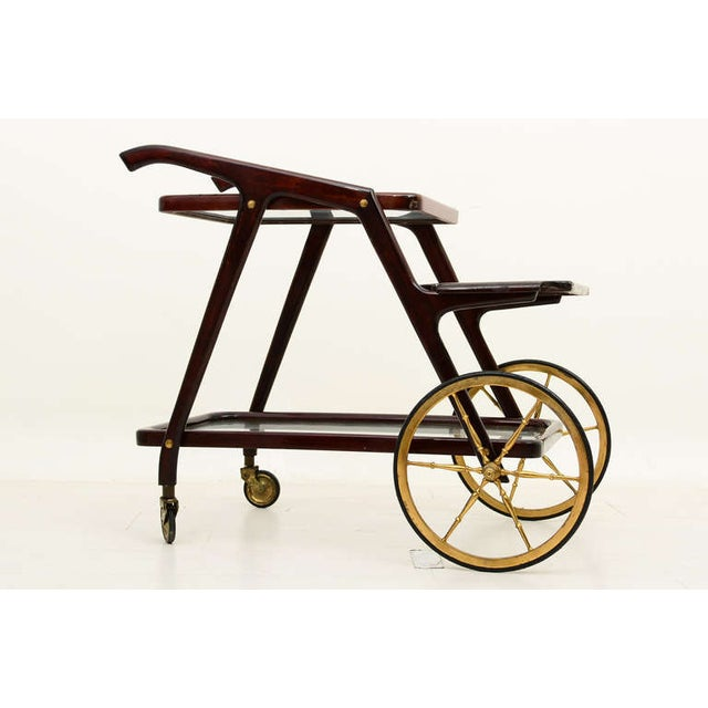 Excellent. Minor scuffs present at finish level. Patina in brass. Wear consistent with age and use Italian service cart...
