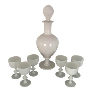 Late 19th Century Antique French White Opaline Decanter & Glasses - Set of 7 For Sale