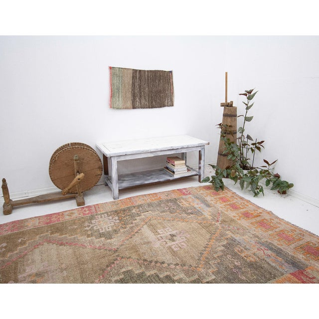 Mid 20th Century Vintage Washed Out Turkish Kars Rug For Sale - Image 5 of 6