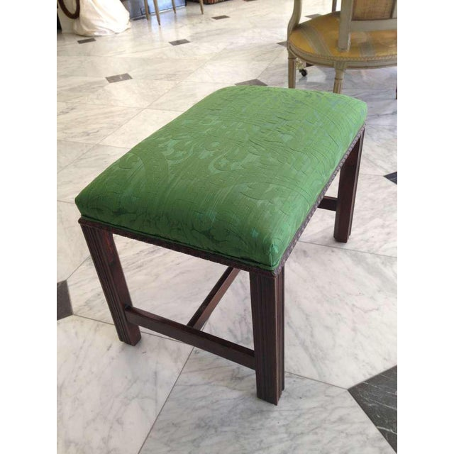 Chippendale Mahogany English Chippendale Style Stool Upholstered in Green Brocade For Sale - Image 3 of 6