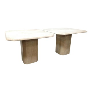 Mid-Century Italian Travertine Marble Side Tables - a Pair For Sale