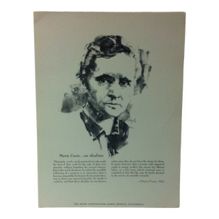"""1962 """"Marie Curie - on Idealists"""" The Rand Corporation Famous People in History Print For Sale"""