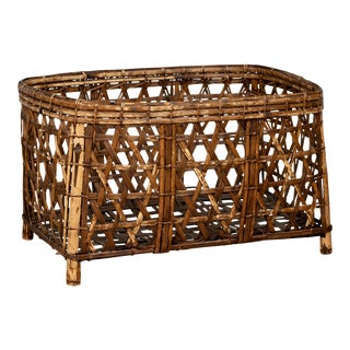 Large Vintage Thai Bamboo Fretwork Basket Raised on Short Feet, circa 1950 For Sale