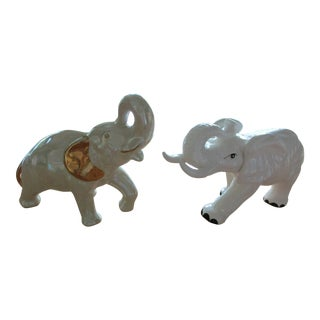 Large Ceramic Elephants -A Pair For Sale