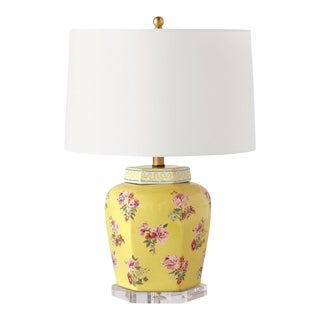 Madcap Cottage Floral-Print Yellow Porcelain Table Lamp With Shade For Sale