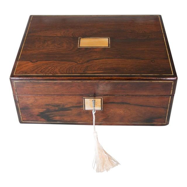 19th-Century English Rosewood Box, Lock & Key For Sale