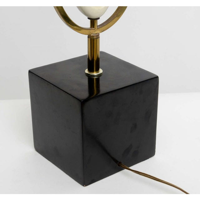 Italian Modern Brass Enamel and Glass Lamp, Arteluce For Sale - Image 9 of 9