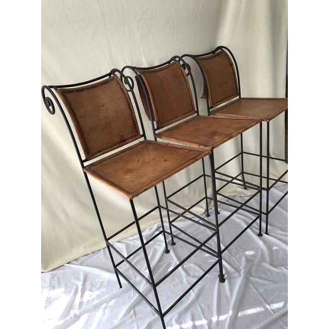 Scrolled Iron & Leather Bar Stools - Set of 3 - Image 3 of 11
