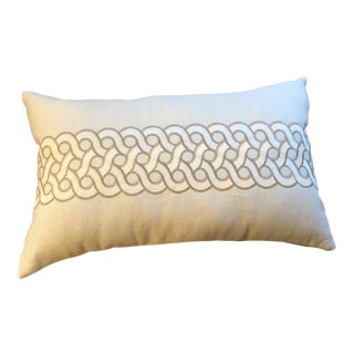 Schumacher Embroidered Ivory Bolster Pillow For Sale