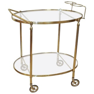1960s Italian Hand Crafted Brass Bar Cart For Sale