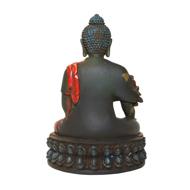 Crystal Glass Color Paint Small Chinese Sitting Buddha Statue For Sale - Image 4 of 6