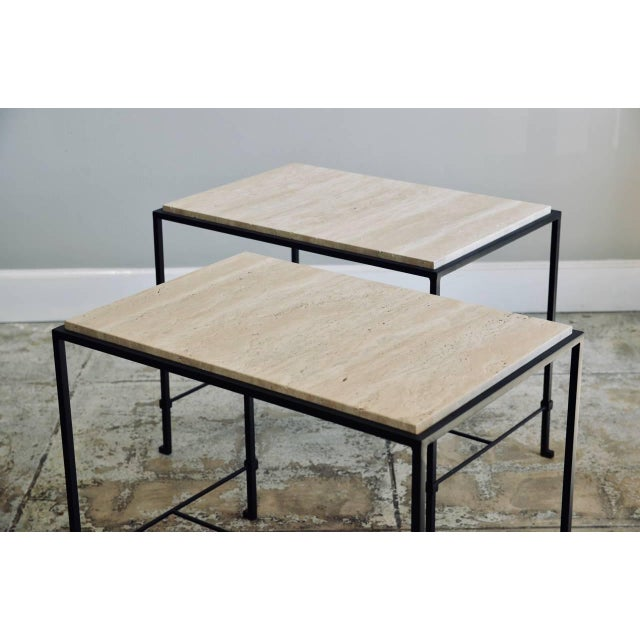 """2010s Contemporary Design Frères """"Diagramme"""" Wrought Iron and Travertine Side Tables - a Pair For Sale - Image 5 of 11"""