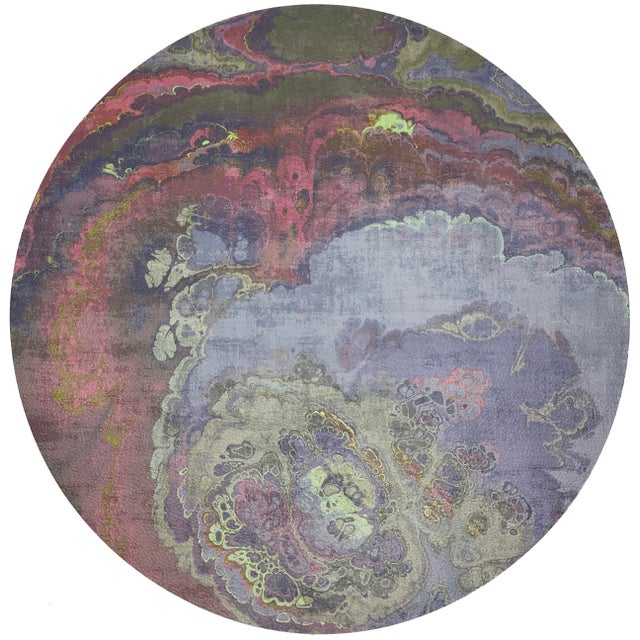 "Abstract Nicolette Mayer Agate Taupe 16"" Round Pebble Placemat, Set of 4 For Sale - Image 3 of 3"