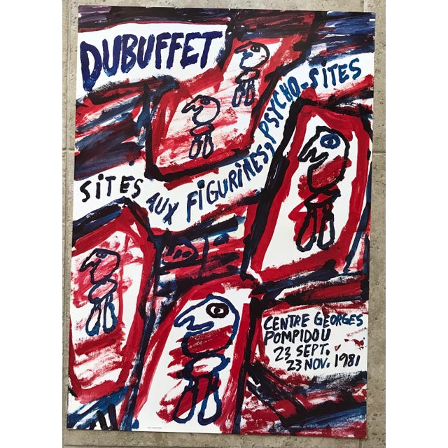 1981 Jean Dubuffet Centre Georges Pompidou Exhibition Poster For Sale In Palm Springs - Image 6 of 6
