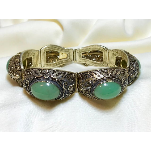 Asian Mid-Century Chinese Gilt Sterling and Jade Bracelet For Sale - Image 3 of 8
