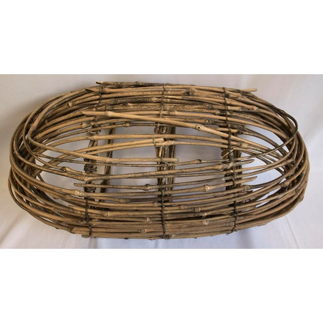 Country Woven Twig Basket For Sale - Image 4 of 5