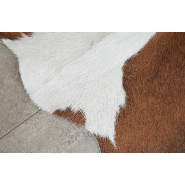 """White CowHide Rug Brown White Natural Cow Hide Rug - 4'3"""" X 4'3"""" For Sale - Image 8 of 11"""