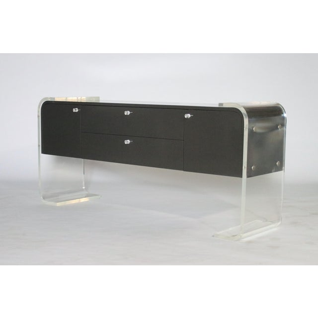 Lucite and Lacquered Wood Sideboard For Sale In Chicago - Image 6 of 9